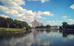 Picture summer, nature, the city, reflection, river, the building, center, Belarus, Minsk