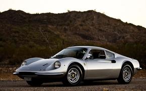 Picture the sky, desert, silver, silver, Ferrari, sky, desert, Ferrari 246 gt