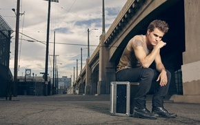 Wallpaper photo, rose, advertising, tattoo, actor, Paul Wesley, Paul Wesley, clothes