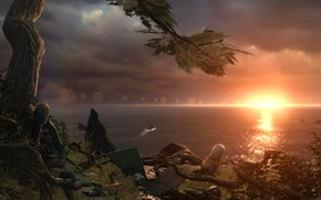 Picture sunset, shore, view, ship, Tomb Raider