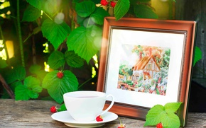 Picture leaves, branches, berries, raspberry, picture, Cup, Board, embroidery, bokeh