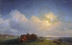 Picture oil, Canvas, 1885, (1817-1900), Ivan AIVAZOVSKY, Chumaky on vacation