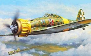 Picture italian airplane, aviation, ww2, Macchi MC.200 Saetta, painting, war, art