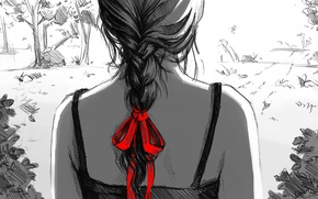 Picture girl, red, figure, art, black and white, braid, bow, back, monochrome, dzun