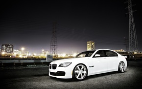 Picture white, night, the city, night lights, BMW, BMW, white, skyscrapers, megapolis, power lines, 750Li, 7 …