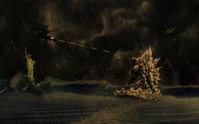 Picture helicopter, statue, Godzilla