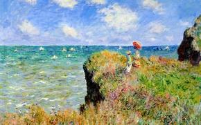 Picture sea, grass, landscape, flowers, rocks, boat, picture, sail, Claude Monet