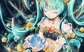Picture girl, flowers, necklace, petals, art, vocaloid, hatsune miku, Vocaloid, hoshino chika