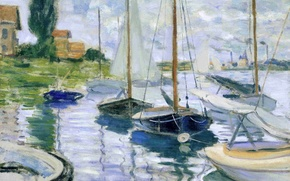 Picture landscape, house, river, boat, picture, sail, Claude Monet