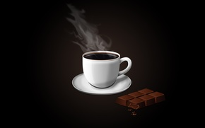 Wallpaper coffee, chocolate, minimalism, vector, Cup