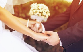 Picture flowers, wedding, the bride, widescreen, guy, HD wallpapers, Wallpaper, lovers, male, girl, full screen, background, ...
