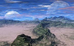 Picture the sky, clouds, mountains, planet