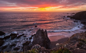 Picture beach, sunset, coast, CA, Bay, USA, The Pacific ocean