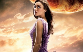 Wallpaper cinema, girl, sky, woman, clouds, movie, planet, Mila Kunis, film, pose, actress, building, Jupiter, earring, ...