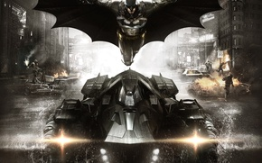 Picture machine, the city, steel, smoke, home, flight, armor, fighter, cloak, equipment, defender, Bruce Wayne, The …