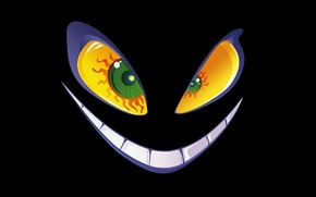 Picture something, black background, burning eyes, Hell of a grin