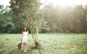 Picture field, girl, tree