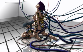 Wallpaper tile, cables, machine, cyborg, Ghost in the shell, Ghost in the Shell, The Fireworks Kusanagi, ...