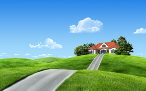 Picture road, clouds, landscape, nature, home, fantasy, house, fantasy, road, landscape, nature, clouds