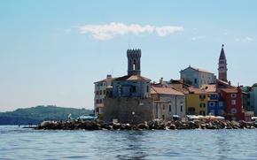 Picture sea, the city, Piran, Slovenia