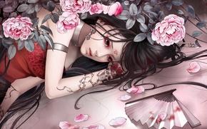 Picture sadness, girl, mood, skull, roses, petals, tattoo, fan