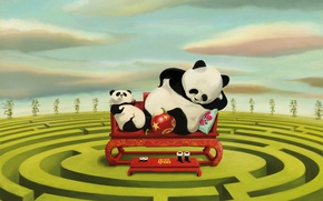 Picture sofa, figure, two, maze, Panda, stand