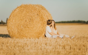 Picture girl, love, nature, smile, background, mood, feelings, hay, pair, male, love, guy, lovers, widescreen, full ...