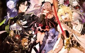 Picture weapons, vampires, military uniform, The Last Seraphim, Owari no Seraph, Seraph of the End, Michaela …