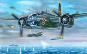 Picture sea, the sky, war, attack, ships, art, torpedo, aircraft, German, Soviet, THE IL-4T, torpedo