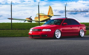 Picture Audi, red, stance, frontside, BBs, whiils