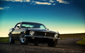 Picture Mustang, Ford, Muscle, Car, Classic, Black, Sunset, 1970, American