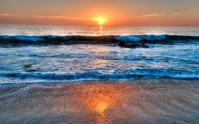 Picture sea, the sky, clouds, sunset, wave, USA, California, Laguna Beach