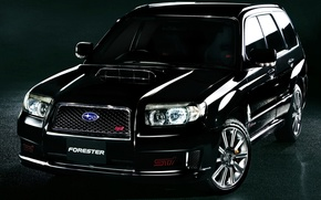 Picture black, tuning, jeep, twilight, subaru, drives, tuning, the front, Subaru, sti, Forester, crossover, forester, STI