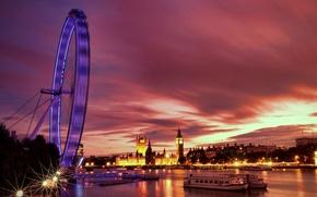 Wallpaper lights, river, England, London, the evening, backlight, UK, Thames, architecture, promenade, river, capital, London, England, ...