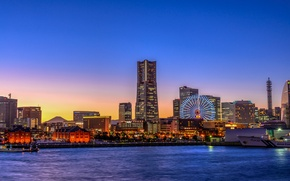 Wallpaper lights, Ferris wheel, Yokohama, the sky, horizon, Japan, sunset