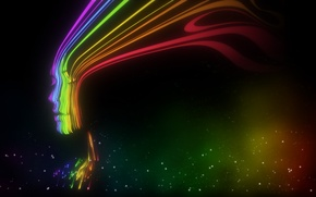 Picture girl, strip, rainbow