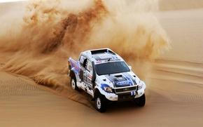 Picture Ford, Sand, Auto, Sport, Machine, Skid, Jeep, Rally, Dakar, Dakar, SUV, The front, 2014, Dune