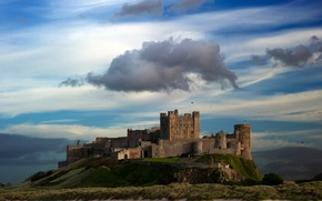 Picture the sky, mountains, birds, clouds, lake, castle, wall, tower, hill