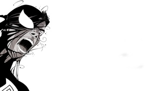 Picture face, white background, black and white, comic, Marvel Comics, Spider-Man, Venom, Venom, Peter Parker, Peter …
