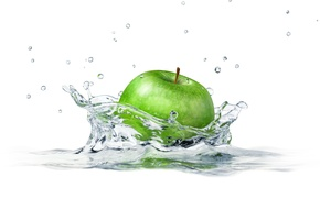 Picture water, squirt, Apple, Apple, white background, water, white background, sprays