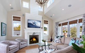 Picture table, room, sofa, interior, fireplace, mansion, living room