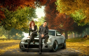 Wallpaper Need for Speed The Run, Ford Mustang, machine, autumn, sam jack