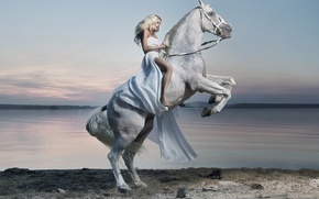 Picture rider, horse, lake, girl, dress, rider