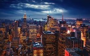 Picture lights, the evening, New York, New York, the city, USA