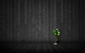 Picture flowers, style, wall, mood, minimalism, pot