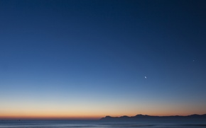 Picture the sky, night, a month, twilight