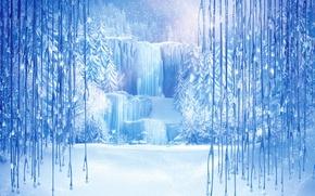 Picture snow, snowflakes, ice, icicles, Frozen, tree, Walt Disney, animation, Walt Disney, 2013, Cold Heart, ice …