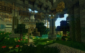 Picture grass, water, trees, flowers, blocks, lights, twilight, arch, minectaft