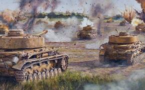 Wallpaper war, art, Pz. IV, figure, field, German medium tank during world war II, A IV, ...