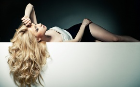 Picture long hair, blonde, pose